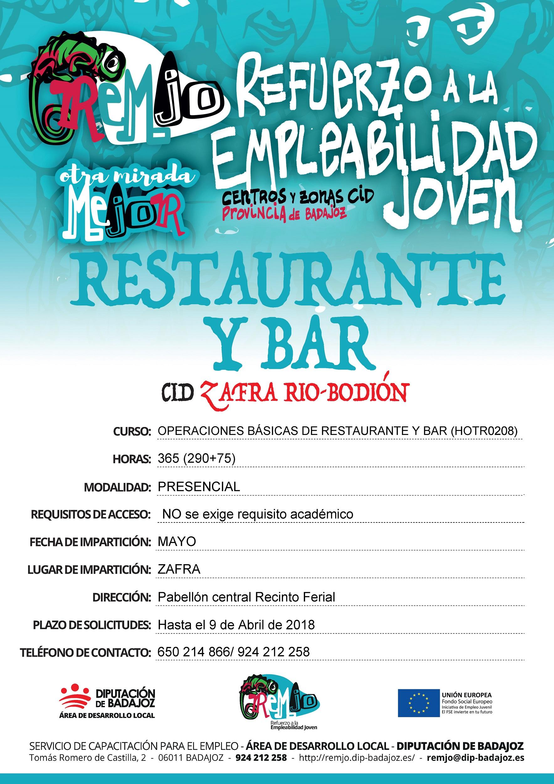 Cartel curso Operaciones Básicas de Restaurante y Bar