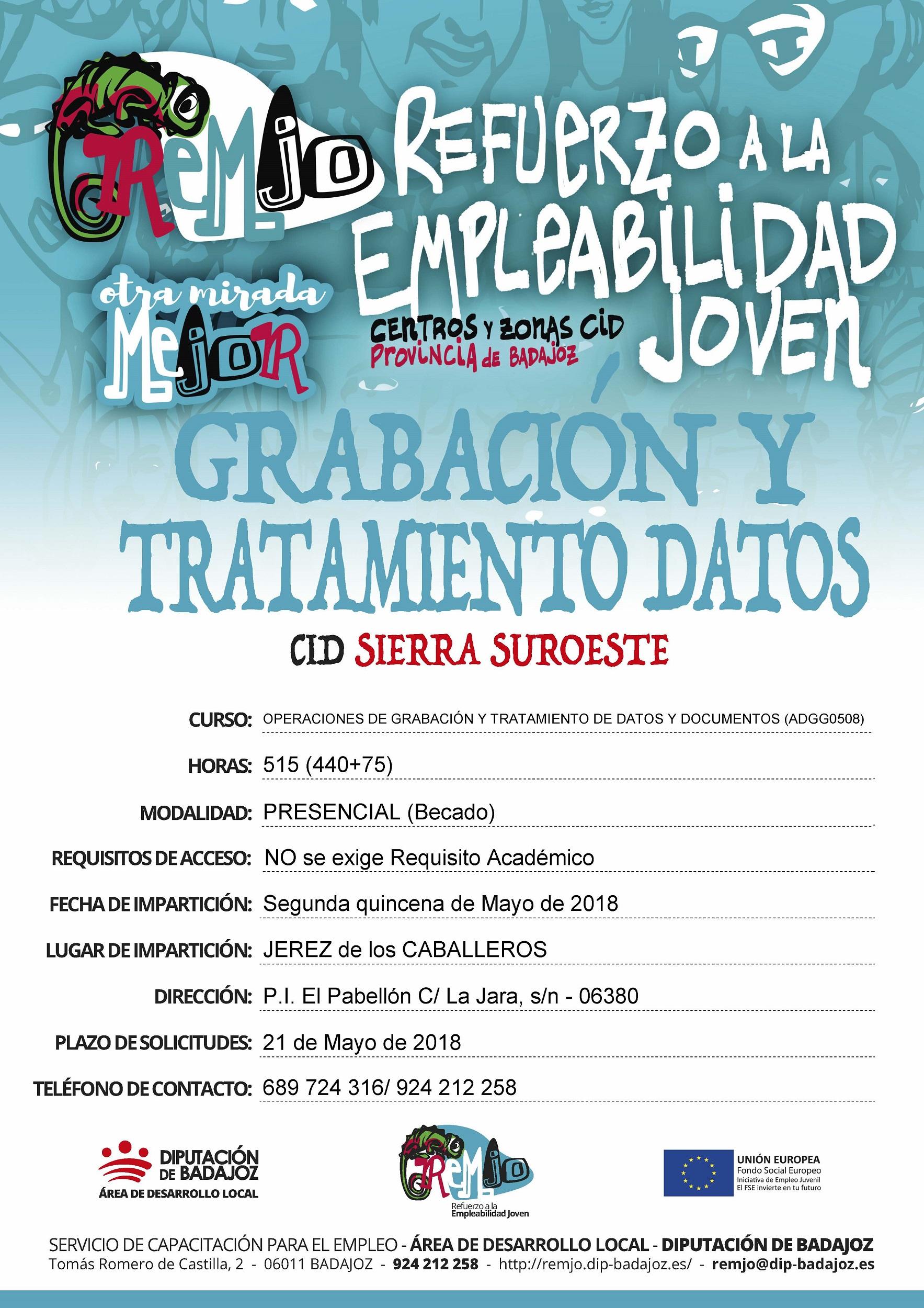 Cartel ampliación plazo Grabación datos en Jerez de los Caballeros