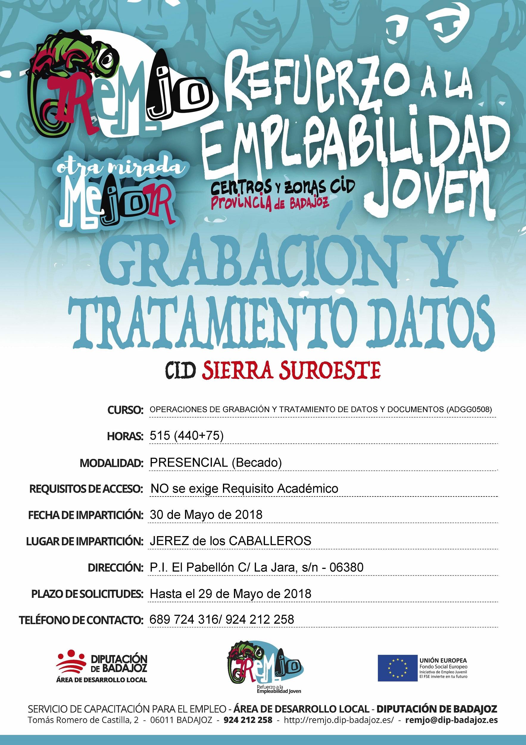 cartel nuevo plazo Grabación Datos en Jerez de los Caballeros