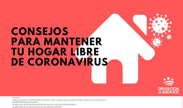 Consejos para mantener tu hogar libre de coronavirus