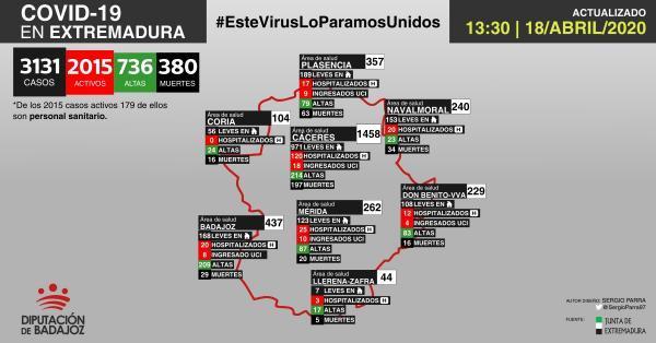 Mapa de incidencia del COVID-19 en Extremadura a 18 de abril de 2020