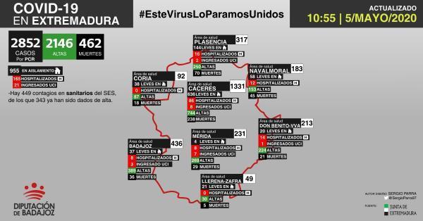 Mapa de incidencia del COVID-19 en Extremadura a 5 de mayo de 2020