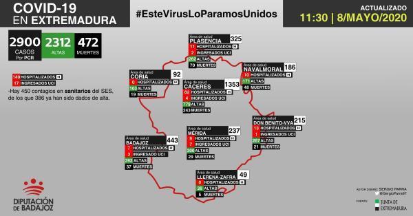 Mapa de incidencia del COVID-19 en Extremadura a 8 de mayo de 2020